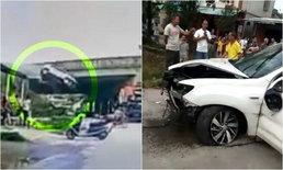 อย่างกับในหนัง หญิงขับเก๋งพุ่งตกทางด่วนสูง 7 เมตร รถพังยับ คนรอดหวุดหวิด