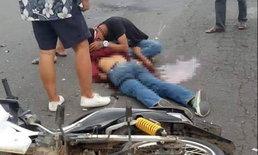 """กอดศพเพื่อนร้องไห้  """"แก๊ง ม.3"""" พกระเบิดไปงานวัด พลาดรถล้มบึ้มสนั่น-ไส้ทะลัก"""