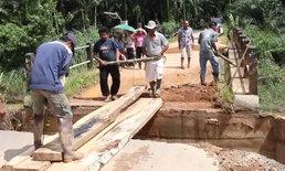 ไม่สนผลกระทบ-คอสะพานขาด ชาวบ้านเดือดร้อน เหตุท่อระบายน้ำจากโครงการขยายถนน