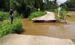 """น้ำท่วม """"แม่จัน"""" เริ่มคลี่คลาย หลังฝนเริ่มหยุดตก แต่ยังพบถนนขาดหลายจุด"""