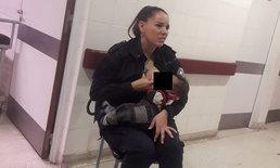 ตำรวจหญิงอาร์เจน ได้เลื่อนขั้น หลังให้นมทารกหิวโซ ขณะออกตรวจโรงพยาบาล