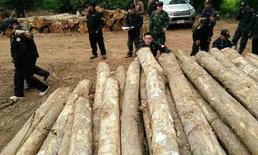 ทหาร-ตำรวจ บุกยึดไม้สักกว่า 147 ท่อน เขตป่าสงวนลำปาง-ไร้เงาผู้ครอบครอง