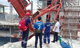 ไม่ทันตั้งตัว! เครนก่อสร้างล้มทับตึกย่านพระราม 9 คนงานดับ 1 ศพ