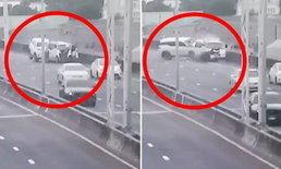 ตำรวจรอดตายมาเล่า นาทีฟอร์จูนเนอร์ชนกระแทกหญิงตกทางด่วนดับ