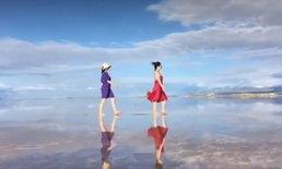 """สวยงามดังสรวงสวรรค์ """"ทะเลสาบเกลือชากา"""" กระจกส่องฟ้าแดนมังกร"""
