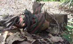 จะเป็นลม! พบผ้าห่อดินในสวนปาล์ม ขุดดูเจอระเบิด M26
