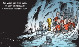 """นักวาดการ์ตูนออสซี่วาดรูป """"ทีมหมูป่า"""" ได้ถ้วยบอลโลก ลั่น """"โลกพบทีมที่กล้าหาญที่สุด"""""""