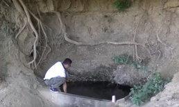 อัศจรรย์ ผุดบ่อน้ำศักดิ์สิทธิ์ใต้ต้นมะค่าโมง อายุหลายร้อยปี