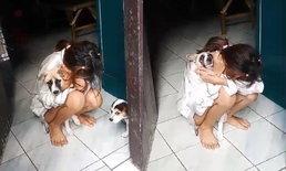 บุกรวบพ่อค้ายาบ้า เมียกลัวถูกจับอมยาไอซ์ไว้ในปาก นั่งกอดสุนัขร้องไห้ (มีคลิป)