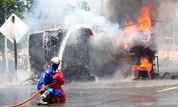 รถแก๊สระเบิด! เหตุยางแตกถังแก๊สกลิ้งเกลื่อนถนน-คนขับทุบกระจกหนีตายรอดหวุดหวิด
