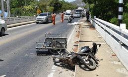 รถบรรทุกพ่วง 18 ล้อต้องสงสัย แซงไม่พ้นล้อหลังเหยียบหัว ลุงวัย 49 ดับคาสะพาน