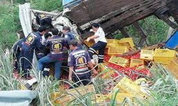 รถบรรทุกมะเขือเทศเบรกแตก แหกโค้งพลิกคว่ำอัดก็อปปี้สาหัส 2 ราย