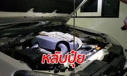 ตัวเงินตัวทองเข้าไปนอนในกระโปรงรถ เจ้าของรถกุมขมับเรียกกู้ภัยจับชุลมุน