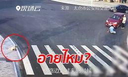 เผยคลิปหนุ่มโดนรถชนกลางสี่แยก ขณะที่สุนัขรอข้ามทางม้าลาย