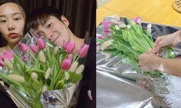 """""""เต้ย"""" จัดดอกไม้ช่อโต มอบให้ """"อาเล็ก"""" วันเกิดอายุ 30 ฉลองง่ายๆ แต่อบอุ่นมาก"""