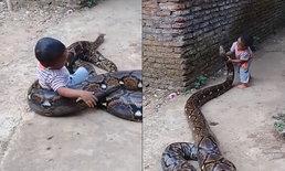 """เด็กอินโดหัวเราะร่า เล่นสนุกกับ """"งูยักษ์"""" พ่อแม่ถ่ายคลิป ไม่หวั่นลูกโดนฉก-รัด"""