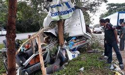 รถพยาบาลพุ่งชนต้นไม้พังยับ!  พยาบาล-กู้ภัยเสียชีวิตรวม 3 ราย คาดคนขับหลับใน
