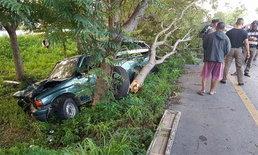 กระบะเสียหลักชนต้นไม้ เทกระจาดคนงานเกลื่อนถนน เจ็บ 9 ดับ 1