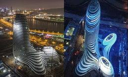"""ชาวเน็ตจีนตกใจ! ตึกสร้างใหม่เหมือน """"ปลัดขิก"""" สถาปนิกเผย ออกแบบจากนาขั้นบันได"""