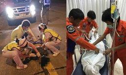 สุดยื้อ-กระบะซิ่งชนหนุ่มใหญ่เดินข้ามถนน กู้ภัยเร่งช่วยก่อนสิ้นใจที่ รพ.