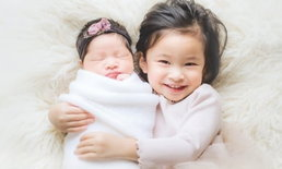 """สองสาวน่าเอ็นดู """"น้องปริม-น้องปราง"""" ลูกแม่เบนซ์ พ่อมิค ถ่ายแบบคู่กันครั้งแรก"""