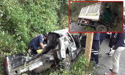 สาวจอดเก็บของหลังรถทางลงเขาดอยขุนตาล 18 ล้อแหกโค้งพุ่งชนรถพังยับ!