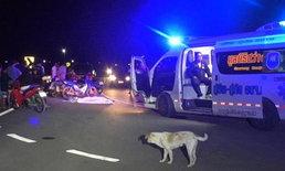 กลับไม่ถึงบ้าน-ศพชายถูกรถซาเล้งทับร่างดับอนาถ  ชาวบ้านคาดเจอหมาวิ่งตัดหน้า