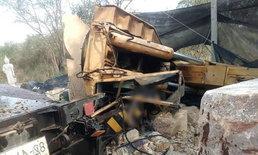 รถเครนหักสยองขวัญ ก้อนหินหนัก 30 ตันร่วงทับร่างต่อหน้าต่อตาเพื่อน