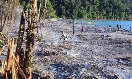"""เปิดภาพ """"หมู่บ้านมอแกน"""" หลังเจอเพลิงวิปโยค เผาผลาญบ้านจนแทบไม่เหลือซาก"""