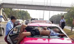 หนุ่มใหญ่วิ่งตัดหน้าแท็กซี่ เบรกไม่ทันชนเปรี้ยง-ร่างลอยละลิ่วทะลุกระจกท้ายรถ