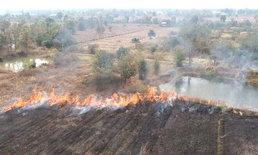 สุดชุ่ย! มือดีเผายางรถข้างถนน-เพลิงเกิดลุกลามไหม้ป่าหญ้านับ 10 ไร่