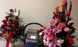 พจมานส่งกระเช้าดอกกุหลาบเยี่ยมเฉลิม