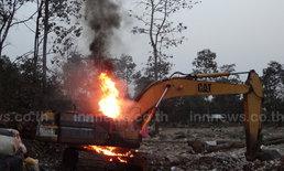 ไฟไหม้รถแบคโฮเอกชนรับจ้างกำจัดขยะสูญ1ล.