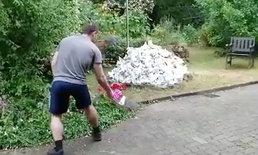 หายนะย่อมๆ ที่สวนหลังบ้าน เมื่อหนุ่มเผากำจัดขยะครั้งเดียว