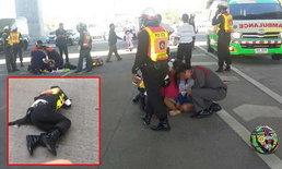 สลด.. วัยรุ่นหนุ่ม-สาวซิ่งจยย.แหกด่าน ชนตำรวจอาสาเสียชีวิต