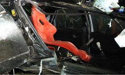 รถยนต์แต่งซิ่งลองเครื่องใหม่  ดริฟรถหมุนชนต้นไม้เสียชีวิต