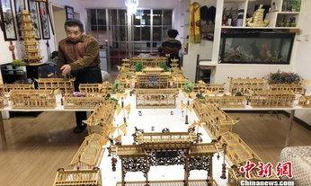 สวยงาม ชายจีนเนรมิตตะเกียบ-วอลนัท เป็นสิ่งก่อสร้างโบราณจิ๋ว
