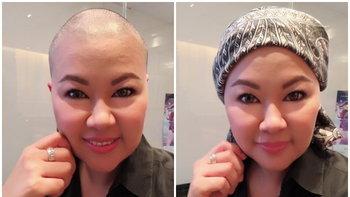 """""""แอ้ม สโรชา"""" ไลฟ์เฟซบุ๊กโกนผมเตรียมทำคีโมสู้มะเร็ง"""