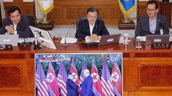 """แอบมองเธออยู่นะจ๊ะ! """"ปธน.-นายกฯ""""เกาหลีใต้ ร่วมชมการพบปะ """"ทรัมป์-คิม"""""""