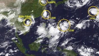 """พายุ 5 ลูกก่อตัวทั่วแปซิฟิก """"เซินติญ"""" เพิ่มฤทธิ์อีกครั้ง ถล่มเวียดนาม"""
