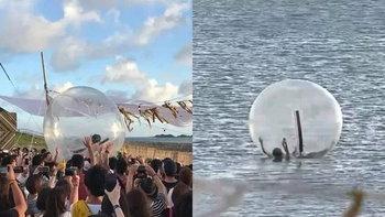 เธอไปกับสายลม...นักร้องสาวแดนปลาดิบในลูกบอลยักษ์ ถูกลมพัดลอยกลางทะเล