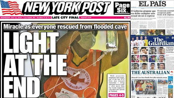 """ปรากฏการณ์หมูป่า! หนังสือพิมพ์ทั่วโลกลงข่าว """"ถ้ำหลวง"""" บนหน้า 1 พรึ่บ"""