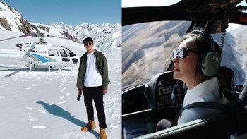 """""""อาเล็ก ธีรเดช"""" เหมาเฮลิคอปเตอร์พา """"เต้ย"""" ชมวิวภูเขาหิมะ สวยเหมือนภาพวาด"""