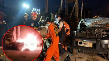 หนุ่มซิ่งกระบะแหกโค้ง 100 ศพ ชนเสาไฟฟ้า ไฟลุกท่วมรถ-ย่างสดดับสยอง