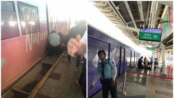ระทึก! ผู้โดยสารเป็นลมจนถูกรถไฟฟ้าบีทีเอสเฉี่ยวชนที่สถานีหมอชิต