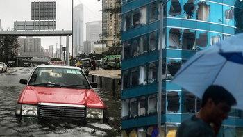 """รวมภาพ """"ฮ่องกง"""" อ่วมพิษไต้ฝุ่นมังคุด ลูกแรงสุดของปี - เร่งฟื้นฟูบ้านเมือง"""