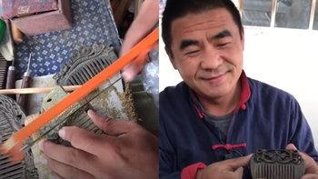 """ช่างจีนโชว์ฝีมือสุดประณีต เปลี่ยนเศษไม้เป็น """"หวีแกะสลัก"""" อันสวย"""