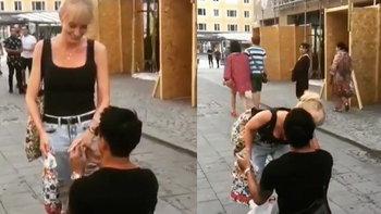 """ซีนโรแมนติก """"บอย พิษณุ"""" คุกเข่าขอแฟนสาวชาวสวีเดนแต่งงาน"""