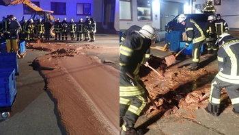 """โรงงานช็อกโกแลตเยอรมนี """"รั่ว"""" หวานเต็มถนน! แต่หนาวจัดจนแข็ง ต้องระดมพลั่วแซะออก"""