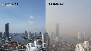 เทียบชัดๆ ฝุ่นละอองขนาดเล็ก PM 2.5 ปกคลุม กรุงเทพฯ วันนี้